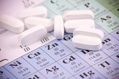 Pillules de zinc sur le Zn Image stock