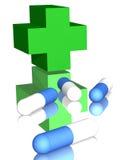 Pillules en travers et bleues pharmaceutiques vertes Image libre de droits
