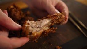 Pilon de poulet frit d'or de brun photos stock