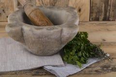 Pilon et mortier avec des herbes images libres de droits