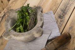 Pilon et mortier avec des herbes sur la table photo libre de droits