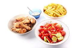 Pilon, salade et rectifier grillés photo libre de droits