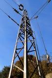 Pilon z drutami pod wysokim woltażem nad koleją przeciw niebieskiemu niebu na dniu fotografia royalty free