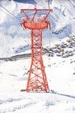Pilone della gondola dello sci nella stazione sciistica di Zurs - di Lech in Austria Immagini Stock Libere da Diritti