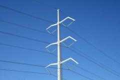 Pilone di elettricità e linee elettriche bianchi Fotografia Stock