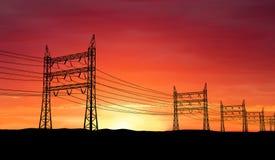 Pilones de la electricidad Imagen de archivo libre de regalías