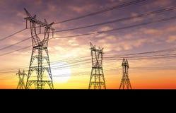 Pilones de la electricidad Foto de archivo
