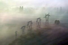 Pilones de la línea eléctrica Imagen de archivo