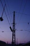 Pilones eléctricos del ferrocarril Imagen de archivo libre de regalías
