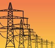 Piloni di elettricità Immagini Stock