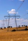 Piloni di elettricità nel campo dell'orzo Fotografia Stock