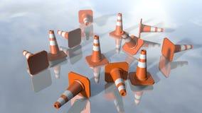 Pilons animados del cono del tráfico que caen abajo 3D que rinde 4k libre illustration