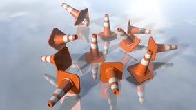 Pilons de cône du trafic tombant vers le bas rendu 3d Image stock