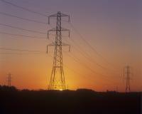 pilony energii elektrycznej Obraz Royalty Free