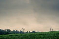 Pilony na zielenieją pole Obraz Royalty Free