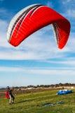 Pilotów stojaki w Launding terenie Torrey sosny Gliderport Zdjęcie Stock