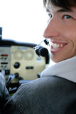 Pilot. Manages air and smiles Stock Image