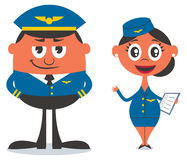 Pilot and Air Hostess. Illustration of cartoon pilot and air hostess. No transparency and gradients used Stock Images