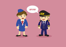 Pilot and and Air Stewardess Vector Cartoon Illustration Royalty Free Stock Photography