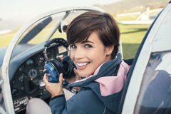 Pilot in the aircraft cockpit Royalty Free Stock Photos