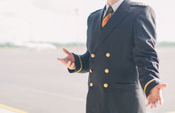 Pilot on the airfield. Royalty Free Stock Photography