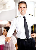 Pilot in an airplane Royalty Free Stock Image
