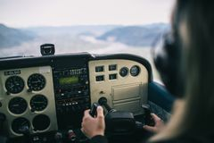 Pilot in airplane cockpit Royalty Free Stock Photos