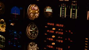 Pilot in an airplane cockpit stock footage