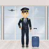 Pilot in the airport. Illustration of pilot in the airport Stock Image