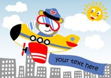 Pilot. Animal pilot on little plane, vector cartoon illustration royalty free illustration