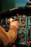 Pilot aviates by control column Stock Photography