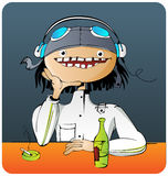 Pilot in a bar. Pilot drinking and smoking in a bar Royalty Free Stock Photo