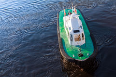 Pilot boat with green deck on a sea water Royalty Free Stock Images