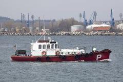 Pilot boat in a harbor. Varna, Bulgaria royalty free stock images