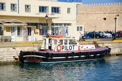 Pilot boat in Heraklion harbour, Crete. stock photography