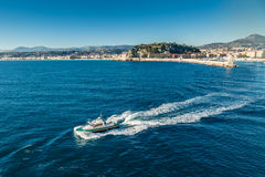 Pilot boat leaving Nice harbour Stock Images
