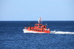 Pilot boat orange tugboat at the sea Royalty Free Stock Image