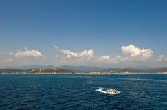 Pilot boat on scenic ocean Stock Photos