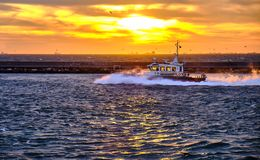 Boat to Kadikoy stock photography