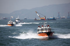 Pilot boats in the harbou Stock Images