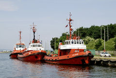 Pilot boats in the Sea port of Gdansk in Poland Stock Photography