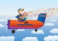 Pilot with bouquet Stock Photo
