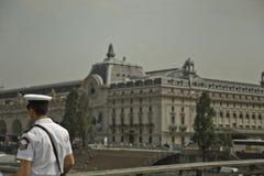 Pilot on the bridge Pont des arts in Paris Royalty Free Stock Images