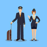 Pilot with brown suitcase and stewardess waving hand Stock Images