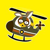 Military helicopter with funny pilot cartoon. Pilot cartoon on helicopter. Vector cartoon illustration, no mesh, vector on eps 10 Royalty Free Stock Photo