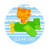 Pilot cat vector illustration Stock Photos
