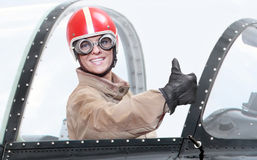 Pilot in cockpit. Stock Photos