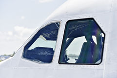 Pilot cockpit seen from outside airplane Royalty Free Stock Image