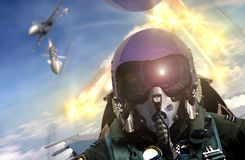 Free Pilot Cockpit View During Air To Air Combat Royalty Free Stock Photos - 113710328