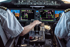 Pilot and copilot in commercial plane Royalty Free Stock Photography